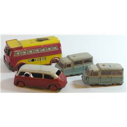 Collection of 4 different tin toy cars