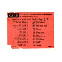 Ticket specifying the contents of a package sent from American to Israel as a donation to families d