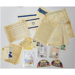 Collection of documents, letters, receipts, philately documents, Mandatory Palestine