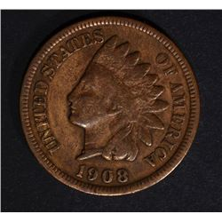 1908-S INDIAN HEAD CENT, VG/FINE