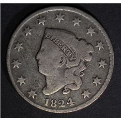 1824 LARGE CENT, VG BETTER DATE