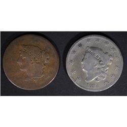 "1834 VG cleaned & 1839 ""BOOBY HEAD"" G LARGE CENTS"