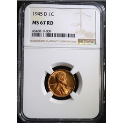 1945-D LINCOLN CENT NGC MS67 RD