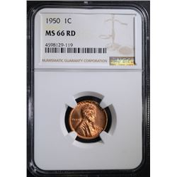 1950 LINCOLN CENT NGC MS66 RD