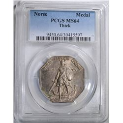 "1925 NORSE ""THICK"" MEDAL, PCGS MS-64"
