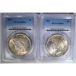 2- 1923 PEACE SILVER DOLLARS, PCGS MS-64