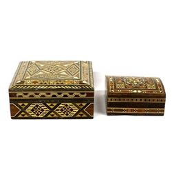 2 Wood Marquetry Boxes