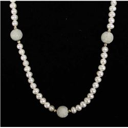Fresh Water Pearl and Carved Jade Bead Necklace