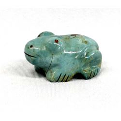Native American Zuni Carved Turquoise Frog Fetish