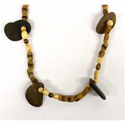 Trade Bead Necklace with Rock Pendants