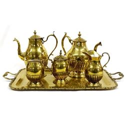 Large Heavy Brass Coffee and Tea Service Set