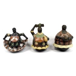 3 Peruvian Chulucanas Folk Art Pottery Women