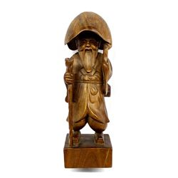 Oriental Hand Carved Wood Elderly Man with Cane