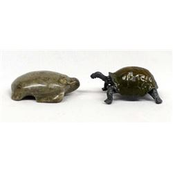 Carved Petosky Stone Turtle & Cast Metal Turtle