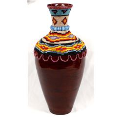 Hand Beaded Bamboo Vase by Kathy Kills Thunder