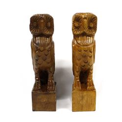 2 Asian Carved Wood Owls