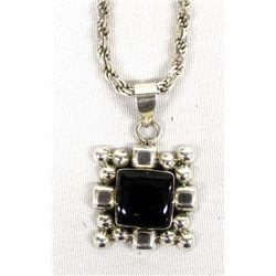 Elegant Sterling Silver and Onyx Pendant Necklace