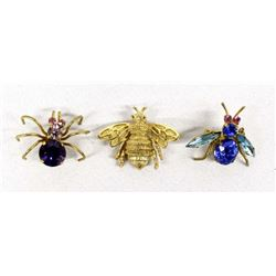 3 Vintage Insect Pins