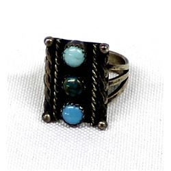 Navajo Old Pawn Sterling Silver Turquoise Ring