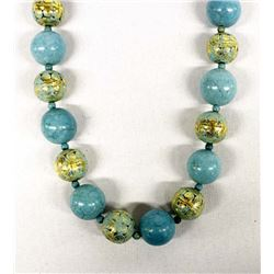 Block Turquoise Bead Necklace