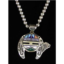 Native American Zuni Sterling Bear Necklace