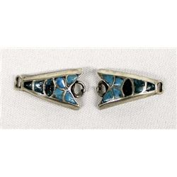 Navajo Silver Turquoise Inlay Butterfly Watch Tips