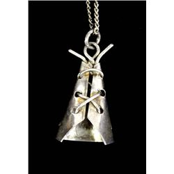 Navajo Sterling Silver Teepee Pendant Necklace