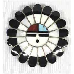 Vintage Zuni Silver Inlay Sun God Pin Pendant