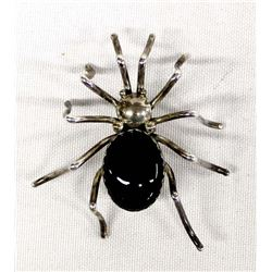 Native American Navajo Silver & Onyx Spider Pin