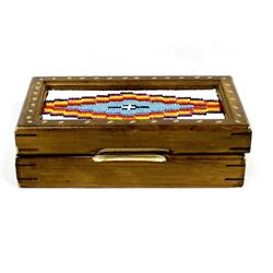 Hand Beaded Hinged Wood Jewelry Box