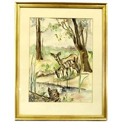 Framed Estate Original Watercolor Painting by Fish