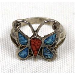 Navajo Old Pawn Silver & Chip Inlay Butterfly Ring