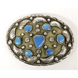 Navajo Old Pawn Silver Turquoise Belt Buckle