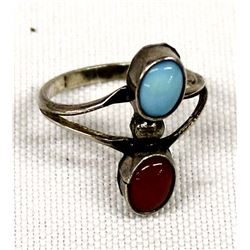 Navajo Old Pawn Sterling Coral Turquoise Ring, 5.5