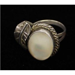 Navajo Old Pawn Silver & Mother of Pearl Ring, 6.5