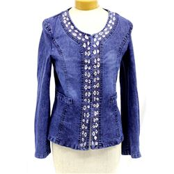 Mengnasai Denim Bling Jacket, Size Petite