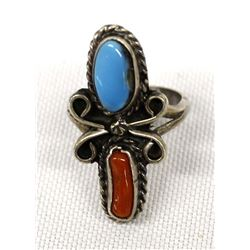 Navajo Sterling Turquoise Coral Ring, Size 4.25