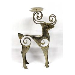 Rustic Metal Art Deer Votive Holder