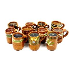 Vintage Mexican Redware Cup Candle Holders