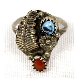 Navajo Sterling Coral Turquoise Ring, Size 5