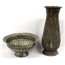 Vintage Egyptian Metal Bowl and Vase