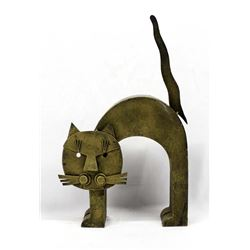 Gold Toned Metal Art Cat