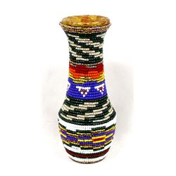 Hand Beaded Vase by Kathy Kills Thunder
