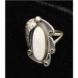 Navajo Sterling & Mother of Pearl Ring, Size 7.5