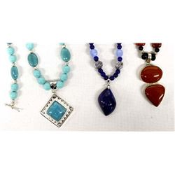3 Gemstone Necklaces and 1 Pair of Earrings