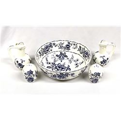 Estate Blue Peony White Ceramic Salad Service