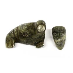 2 Native American Canadian Inuit Stone Carvings