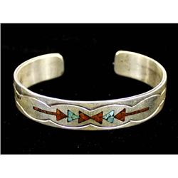 Navajo Sterling Turquoise Coral Inlay Bracelet