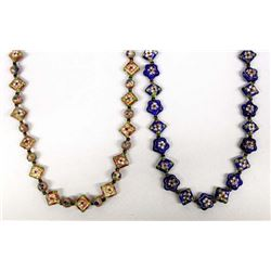 2 Handmade Cloisonne Bead Necklaces