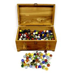 Estate Glass Marbles in Hinged Wood Box